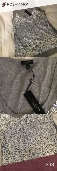 NWT Talbots silver sequin tank Never worn super cute sequin tank. 60% cotton 40% modal Talbots Tops Blouses