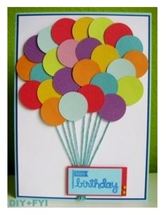 DIY, Homemade balloon card using round punch out for balloons; could be made from paint chip samples or leftover scraps.