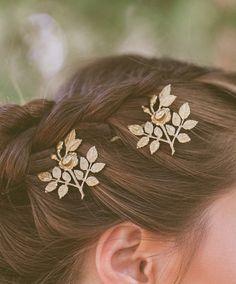 Or Rose fleur Hair Clips fleur cheveux broches par EchoandLaurel