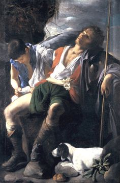 "San Roque curando por un ángel (""San Rocco curato dall'angelo""). Carlo Saraceni. 161? Localización: Galleria Doria Pamphilj (Roma). https://painthealth.wordpress.com/2016/05/27/san-roque-curado-por-un-angel/"