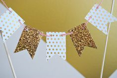 Gold Polka Dot Cake Topper by gusandmarley on Etsy, $10.00