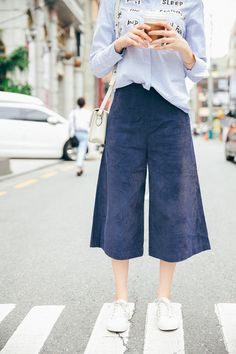 Blue Bell Bottom Dress Pants Corduroy Culottes Wide by wafflebar