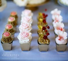 Very elegant mini cupcakes with soft pink roses, flowers, sugar jewels and gold leaf. Much easier to eat a formal occasion than large cupcakes. Pretty Cupcakes, Beautiful Cupcakes, Gorgeous Cakes, Fun Cupcakes, Cupcake Cakes, Elegant Cupcakes, Elegant Desserts, Amazing Cupcakes, Mocha Cupcakes