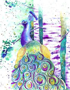 """Beautiful project """"Peacock Textures"""" by Yasmina! Click """"visit"""" above to see how she did it on Skillshare. Watercolor Projects, Watercolor Bird, Watercolor Texture, Watercolor Illustration, Animal Art Projects, Positive Art, Baby Painting, Mixed Media Art, Amazing Art"""