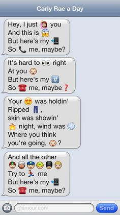 funny iphone emoji call me maybe Funny Emoji Texts, Funny Emoticons, Emoji Puns, Hilarious Texts, Emoji Messages, Funny Text Messages, Funny Emoji Combinations, Emoji Conversations, Lyric Pranks