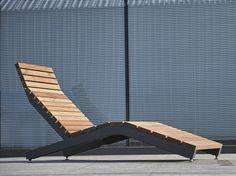 Bain de soleil / chaise d'extérieur en acier et bois RIVAGE | Outdoor deck chair by mmcité1