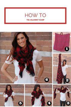 How to tie a blanket scarf www.liveloveposh.wordpress.com http://www.poshnovi.com/products/blanket-scarf-red