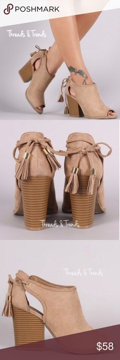 "Peep Toe Sandal Booties Stunning taupe color peep toe sandal booties with tassel tie closure detail.  Trendy stacked chunky heel. Get the spring/summer look in these beauties.                                                                                       Heel Height: 3.5"" (approx) Shaft Length: 6.25"" (including heel) Top Opening Circumference: 11"" (approx) Threads & Trends Shoes Sandals"