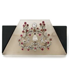 A ROCK CRYSTAL, ENAMEL, DIAMOND, RUBY, PLATINUM AND 18K YELLOW GOLD BROOCH, BY GEORGES FOUQUET, CIRCA 1925. #Vintage #Fouquet #brooch