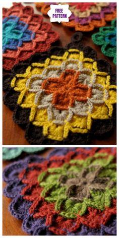 Crochet Motif Patterns, Granny Square Crochet Pattern, Crochet Patterns For Beginners, Crochet Squares, Crochet Stitches, Crochet Geek, Free Crochet, Knitting Patterns, Crochet Granny