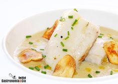 Bacalao con crema de apio y chips de ajo