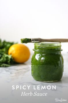 Spicy Lemon Herb Sauce via @PureWow -- This sounds amazing for grilling! Can't wait to try it!