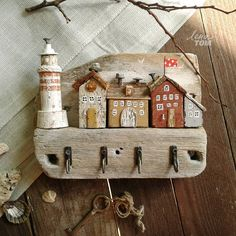 """Wooden key keeper """"Streets of Italy - Home Decor -DIY - IKEA- Before After Scrap Wood Crafts, Wood Block Crafts, Wooden Crafts, Beach Crafts, Home Crafts, Diy And Crafts, Driftwood Projects, Driftwood Art, Timber House"""