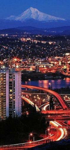 Hood, the Willamette river, and the freeway interchange viewed from the west hills of Portland, Oregon. Move to Oregon. Places Around The World, Oh The Places You'll Go, Great Places, Places To Travel, Places To Visit, Around The Worlds, Oregon Washington, Portland Oregon, Downtown Portland