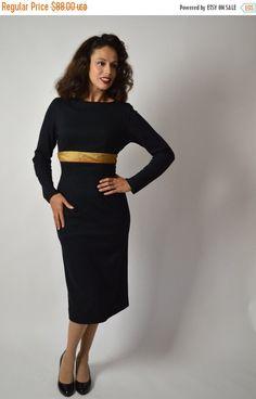 Vintage Sale 50s Wiggle Dress Black Dress Mid by BuffaloGalVintage