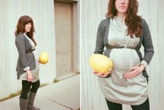 Doing this next baby! Take photos each week holding the fruit or veggie that reflects the baby's size!