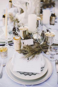 Winter Table Setting | Photo by Gideon Photography | http://ruffledblog.com/an-all-white-winter-wonderland #tablesettings #weddings