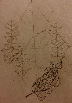 #sketch #mountain #drawing #pinecone #moon #pnw