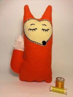 Orange sleepy fox by madebyswimmer on Etsy