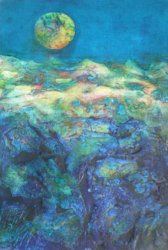 Information about the process of Collagraph printmaking by Susanne Clark a contemporary artist who creates handpulled collagraph and intaglio prints. Landscape Artwork, Fantasy Landscape, Collagraph Printmaking, Abstract Images, Abstract Art, Sketch Painting, Moon Art, Collage Art, Making Ideas