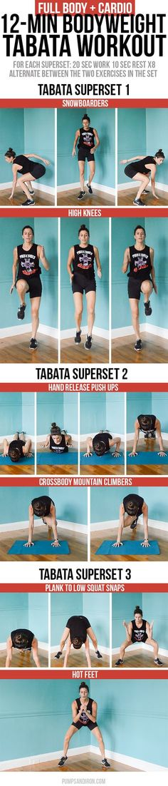 12-Minute Bodyweight Tabata Workout Series: Full Body + Cardio | Pumps & Iron | Bloglovin'
