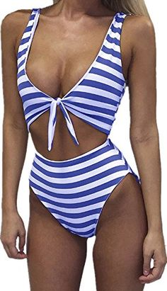 41d724838 Inorin  Women  Swimsuit One Piece High Waisted  Sexy Striped Monokini Cut  Out Cheeky