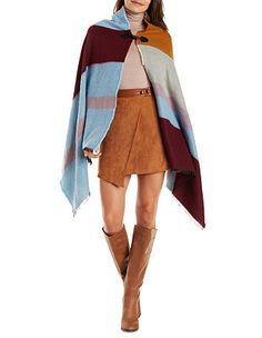 Asymmetrical Stripe Toggle-Front Cape: Charlotte Russe