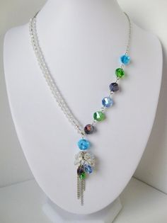 Crystal and Peacock A-symmetrical Cluster-Drop Necklace - Peacock Wedding…