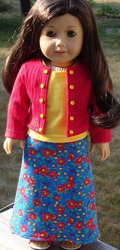 Blue Floral Maxi Skirt, Red Jacket And Tank Top For American Girl Or Similar 18-Inch Dolls