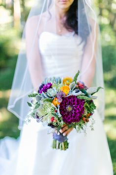 Colorful bouquet: http://www.stylemepretty.com/2015/05/11/rustic-modern-oregon-lake-wedding/   Photography: Maria Lamb Photography - www.marialamb.co