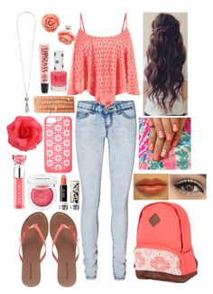 ~Coral Floral~ by raianna-starz on Polyvore featuring Vero Moda, Wet Seal, Chan Luu, Forever New, Kate Spade, Clinique, Aéropostale, Anna Sui, Bulgari and Topshop