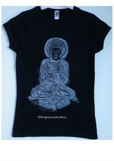 Buddha Blessing T-shirt, Wear Art!, T-shirt, Buddha, retro, yoga, yoga shirt, meditation, wearable art, hand printed, art T-shirt, by Brightwood Gallery