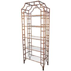 vintage pagoda chinese chipendale faux bamboo etagere - usa - 1960s - LENGTH: 32 in. (81 cm) DEPTH: 14.5 in. (37 cm) HEIGHT: 6 ft. 8.3 in. (204 cm)