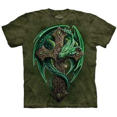 WOODLAND GUARDIAN Celtic Cross Dragon T-Shirt by The Mountain Sizes S-5XL NEW! #celtic #celticcross #dragon
