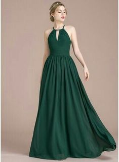 A-Line/Princess Scoop Neck Floor-Length Ruffle Zipper Up Spaghetti Straps Sleeveless No Dark Green Spring Summer Fall Winter General Plus Chiffon US 2 / UK 6 / EU 32 Bridesmaid Dress Trendy Dresses, Nice Dresses, Fashion Dresses, Dark Green Dresses, Casual Dresses, Evening Dresses, Prom Dresses, Formal Dresses, Dress Prom