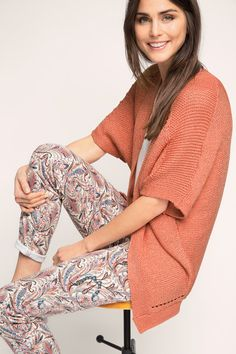 Esprit / Shimmering, chunky-knit cape cardigan