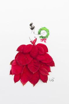 A bright red poinsettia dress for Christmas