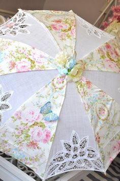 Instead of buying over priced wedding parasols for favors, add fabric to cheap umbrellas