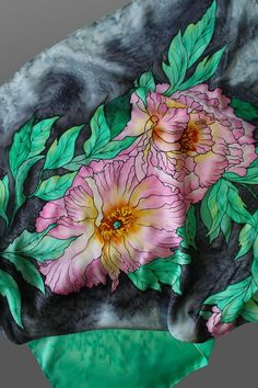 Hand painted silk scarf. Peonies silk scarf. Grey and mint green scarf. Silk shawl scarf. Square silk scarf. Made to order. It will take me about 10 days to make the scarf for you. 34x34 in (87x87 cm). It is made of 100% pure silk in a non-smoking environment. I used professional dyes and steam to fix the colors. So this scarf will serve you many years without fading. The scarf drapes beautifully around your neck and shoulders. You can wear it as a wrap with your evening dress as well…