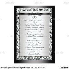 "Wedding Invitation elegant Black white 5"" X 7"" Invitation Card"