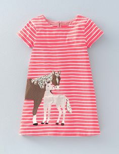 Stripy Appliqué Jersey Dress