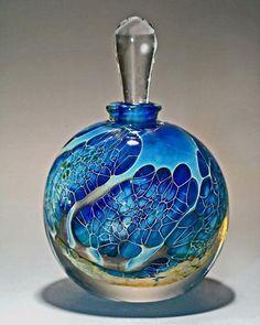 Round Silver Veil Teal Perfume Bottle: Robert Burch: Art Glass Perfume Bottle - Artful Home