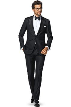 Suitsupply Suits: Soft-shoulders, great construction with a slim fit—our tailored, washed and formal suits are ideal for any situation. Black Tuxedo Suit, Tuxedo Jacket, Black Tie, Groom Tuxedo, Formal Suits, Formal Wear, Men Formal, Suit Supply, Party Suits