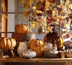 Pottery Barn Fall Halloween Antique Mercury Glass Pumpkins