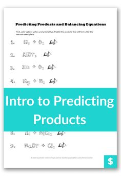 Do your high school chemistry students mix up the chemical compounds when they first learn to balance chemical equations? Use this quick, fun, and easy color coding activity to clear up common misconceptions for predicting products. And get your students to write the compounds correctly the first time. High School Chemistry, Chemistry Teacher, Middle School, Back To School, Balancing Equations, Chemistry Worksheets, Chemical Equation, Students