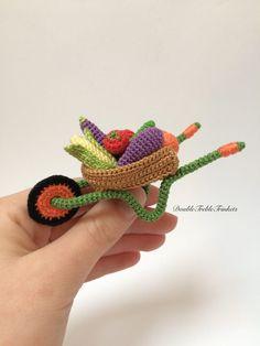 Crocheted wheelbarrow