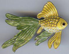 Margot de Taxco Mexico Vintage Sterling Silver Yellow Green Enamel Gold Fish Pin   eBay