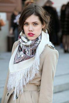 scarf + berry lip.