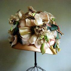 hat #vintage #hat #green #ivory