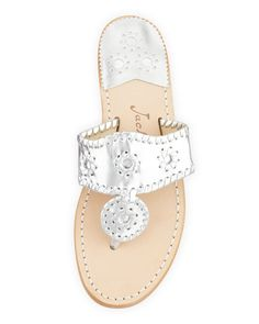 Jack Rogers, Hamptons Whipstitch Thong Sandal in Silver, $118